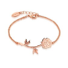 Disney Beauty & the Beast Rose Gold-Plated Rose Bracelet by Couture Kingdom
