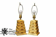 2 Arts + Crafts Handmade Table Lamps Stacked Drawers Alter Light Crucifix Inlay