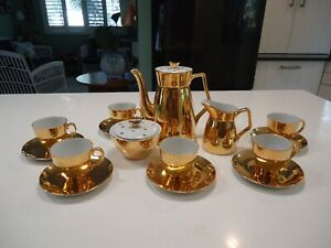 vintage retro mid century Rembrandt china Australia 22 caret gold coffee set pot