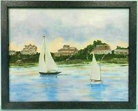 "M JANE DOYLE SIGNED ORIGINAL ART OIL/CANVAS PAINTING ""THE HAMPTONS""(SEASCAPE)FR."