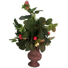 Artificial Potted Strawberry Plant Metal Urn Planter Vase Natural Realistic