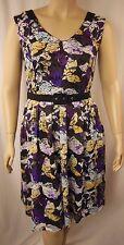 City Chic Black Multi Sleeveless Pleat Lace Overlay Dress Size XS 14 BNWOT CC788