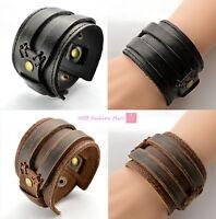 New Fashion Men Leather Buckle Wide Bracelet Wristband Bangle Cuff Gothic Punk