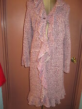 New NWT Calypso purple white tweed long coat w ruffle front sz L