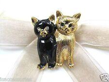 18K GP Two Lovely Cats Swarovski Element Austrian Crystal Rhinestone Brooch Pin