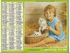 CALENDRIER ALMANACH PTT OLLER 1984 Année bissextile Enfant chien berger allemand