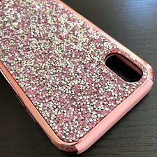For iPhone X - HARD HYBRID ARMOR SKIN CASE COVER ROSE GOLD CRYSTAL DIAMOND STUDS