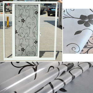 2m Floral Window Film Glass Door Stickers Privacy Frosted Self Adhesive Bathroom