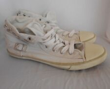 Miss Shop White/Off-White Lace Up Sneakers/Casual Shoes Canvas Silver Studs Sz 9