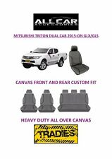 Canvas Car Seat Covers Front &Rear Custom Fit Mitsubishi Triton Dual Cab 2015-on