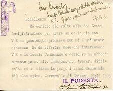 FASCISMO SERRAVALLE DI CHIENTI 1926 BONCOMPAGNI LUDOVISI AUTOGRAFO MACERATA
