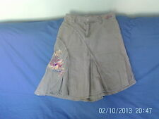 Womens Size 10 - Grey Drill Cotton Embroidered Skirt - New Look