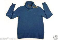 $90 New Mens TOMMY HILFIGER Pima/Merino Shawl Sweater LARGE Blue wool
