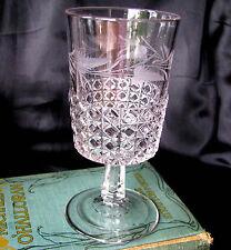 EAPG Ripley Mascotte Clear Fern Block Etched Leaf c.1884 Pressed Glass Goblet