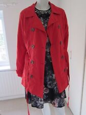 SOON SIZE 14 RED LINED BUTTON FASTENING RAINCOAT JACKET RRP £35