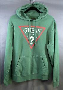 Guess Men's Medium Pullover Hoodie Green Long Sleeve Sweatshirt