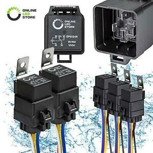 ONLINE LED STORE 5 Pack 5-Pin 12V Bosch Style Waterproof Relay Kit [Harness