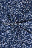 Sanganeri Natural Block Print Fabric Indian Jaipuri Indigo Fabric By Yard Throw