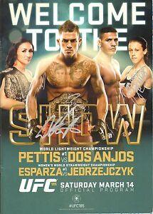 Joanna Jedrzejczyk Rafael Dos Anjos Carla Esparza Signed UFC 185 Program PSA/DNA