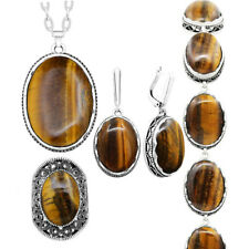 Natural Stone Tiger Eye Jewelry Set Necklace Earrings Ring Bracelet Fashion Gift