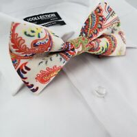 Mens Pre-Tied Woven Ivory white Green Yellow Blue Formal Ties Classic Bow Tie 28
