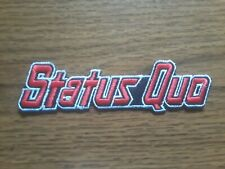 STATUS QUO,IRON ON RED WITH WHITE EDGE EMBROIDERED PATCH