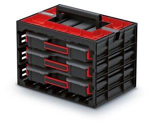 Werkzeugkoffer 3 x Organizer Sortimentskasten Kleinteilemagazin Sortierbox Sale