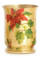 Hurricane Candle Glass Lamp Vase Golden And Traditional Christmas Flower