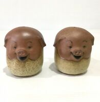 Retro Vintage Gempo Pottery Pig Salt & Pepper Shakers Made In Japan