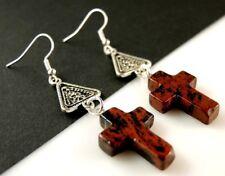 1 Pair of Mahogany Obsidian Gemstone Cross Dangle Earrings #1765