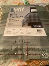 VCNY Home Gray Red Plaid Down Alternative Comforter Full Queen New