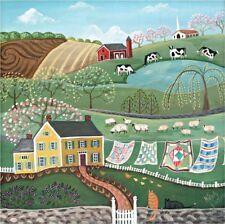 Patchwork Quilts- FOLK ART LANDSCAPE-Primitive Country Print -Wendy Presseisen