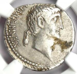 Marc Antony and Octavian AR Denarius Coin 41 BC (Gel Poplicola) - NGC Choice VF