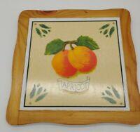 Fruit Design Wood & Ceramic Tile Trivet Pot Holder / Hanger Pear, Apple, Apricot