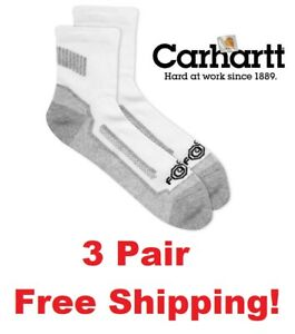 Carhartt 3 Pack Force Performance Work Quarter Socks Men's Shoe Size 6-12 White