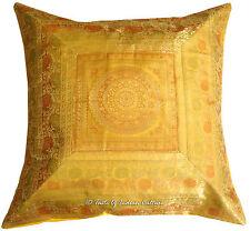 "Gold 26"" X Large Mandala Silk Brocade Cushion Pillow Cover Sofa Throw Indian Vtg"