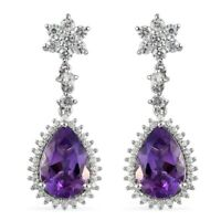 Platinum Over 925 Sterling Silver Amethyst Zircon Drop Dangle Earrings Ct 7.9