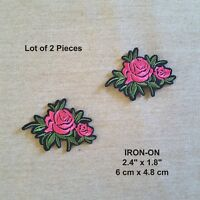Lot of 2 Yellow Roses Embroidery Iron-on Rose Patch Flower Pink Flowers Applique