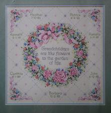 VTG 1991 DIMENSIONS Stamped Cross Stitch Kit GRANDCHILDREN ARE LIKE FLOWERS ~New