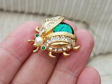 Vintage Esfinge joyería impresionante Ágata & Rhinestone Ladybird insecto Broche Pin