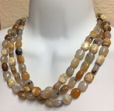 """17"""" NATURAL GRADUATED MOSS AGATE GEMSTONE THREE IN ONE NECKLACE"""