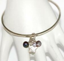 Sterling Silver 925 Slipover Bangle Bracelet, Pearl and Heart Charms by JS