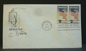 #1249 PAIR 1964 5₵ U.S. FLAG REGISTER TO VOTE FDC - HOUSE OF FARNAM CACHET
