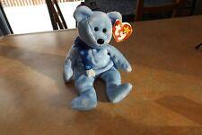 TY Vintage new toy beanie baby bear born 1999 Holiday Teddy blue snow flakes
