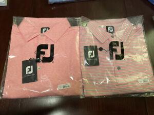 2 NEW 2020 FootJoy Lisle SpaceDye Microstripe & MultiStripe Shirts, Coral, Large
