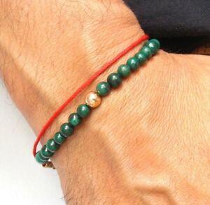 green eilat gemstone beads 14k rose gold bracelet natural round king Solomon new