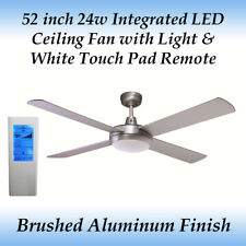 52 inch Silver 24w LED Ceiling Fan in Cool White Light and White Touch Remote