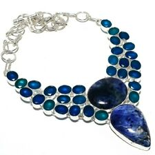 "Sodalite, Blue Sapphire Gemstone 925 Sterling Silver Necklace 18""AZ"