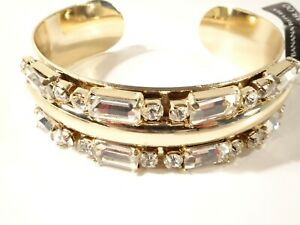 Banana Republic Women's Crystal Baguette Cut Cuff Bracelet NWT 48 GOLD