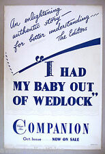 Woman's Home Companion NEWSSTAND SIGN/POSTER 1950's I Had My Baby Out of Wedlock